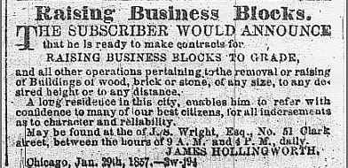 A contractor offers to raise buildings, 1857