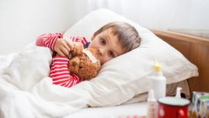 Boy sick with fever