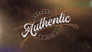 Authentic series logo; Cursive text with orange filigrees.